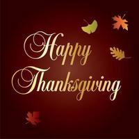Happy Thanksgiving typography and leaves graphic vector