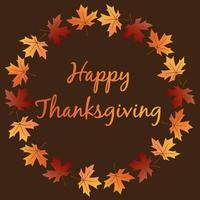 Happy Thanksgiving with leaf wreath vector