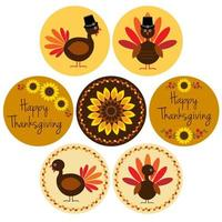 Thanksgiving graphics in circle frames vector