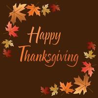 Happy Thanksgiving design with corner leaves frame