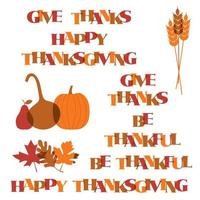 Thanksgiving typography and icons vector