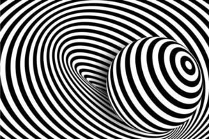 distorsión de línea 3d en blanco y negro, ilusión de bola vector