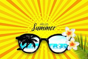 Hello Summer sunglasses halftone pop art
