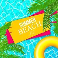 cartel de olas de piscina de agua de verano con hojas de palmera