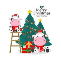 Merry Christmas card with Cute cows