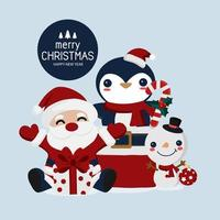 Christmas and New Year Santa and animal friends card vector
