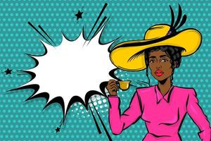 Black afro woman pop art drinking tea