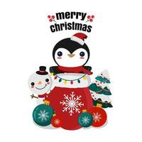 Merry Christmas greeting card with penguin and snowman vector