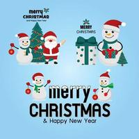 Christmas greetings with snowman vector