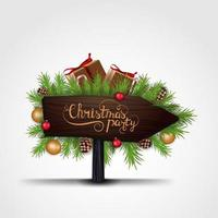 Christmas party, wooden pointer vector