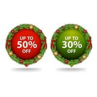 Set of round Christmas discount banners vector