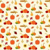 Autumn pattern with pumpkins, gourds, foliage