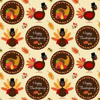 Thanksgiving pattern with turkeys and cornucopia