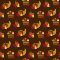 Seamless thanksgiving cornucopia and fruit pattern