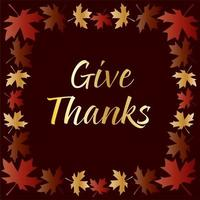 Gold give thanks typography with leaf frame vector