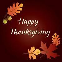 gráfico de feliz día de gracias con bellotas y hojas