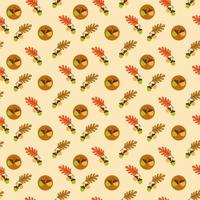 Seamless autumn oak leaf and acorn pattern