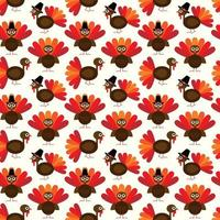 Turkeys with pilgrim hat seamless pattern
