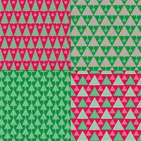 Green and Red stylized Christmas tree patterns
