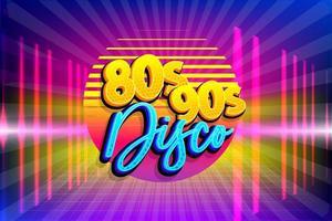 Retro 80s 90s neon disco party poster template vector