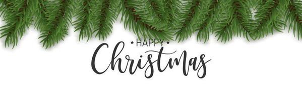 borde de pino realista y texto de feliz navidad vector