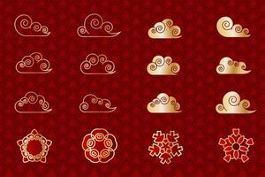 Asian red and gold cloud and geometric flower set