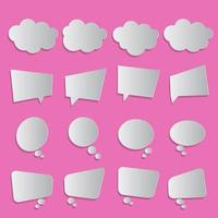 Paper craft white empty speech bubbles on pink