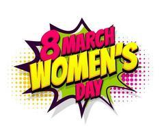 8 de marzo día de la mujer texto cómico diseño de arte pop vector