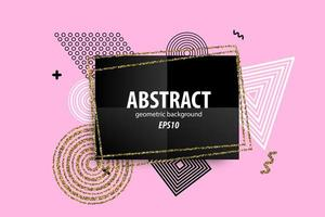Abstract geometric shapes design on pink
