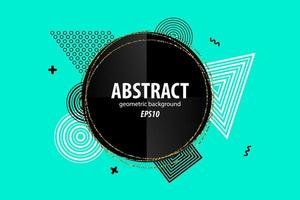 Abstract geometric shapes design on green vector