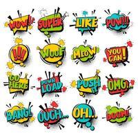 Comic speech bubble set with phrases vector
