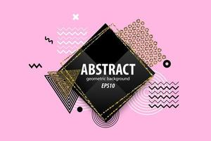 Abstract geometric black, white, gold shapes design on pink