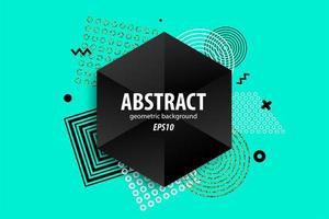 Abstract geometric shapes design on green