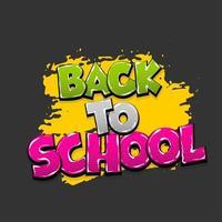 Back to school comic text pop art