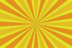 Yellow and orange pop art vintage radial halftone background vector