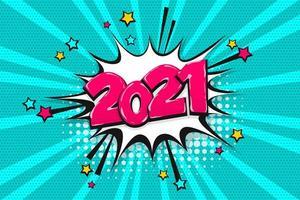 2021 bocadillo de diálogo de texto de cómic de arte pop vector