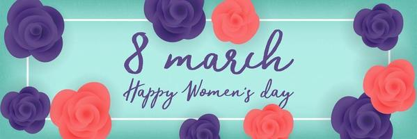Women's day roses on mint color banner vector
