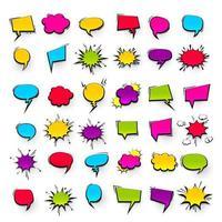 gran conjunto de efectos de burbujas de discurso cómico vector