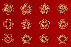 Asian red and gold geometric flower emblem set