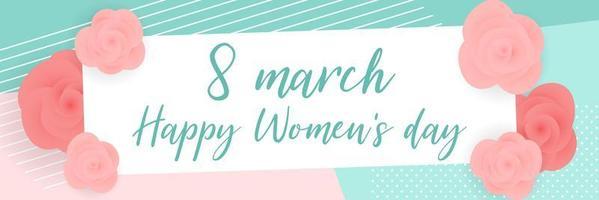 día de la mujer rosas en banner de patrones geométricos