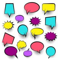 Conjunto de burbujas de discurso de cómic vacío de color vector