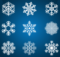 White snowflake set on blue gradient