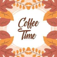 Coffee time composition banner with leaves