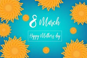 8 march Women's Day poster with flowers on blue