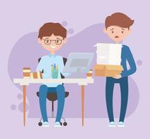 espacio de trabajo con empleados ocupados vector