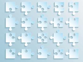 colección de piezas de rompecabezas de degradado azul suave vector