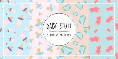 Baby stuff seamless pattern set