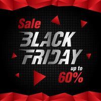 Banner de venta de viernes negro con polígonos rojos. vector
