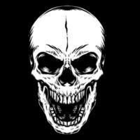 cráneo humano dibujado a mano en negro vector