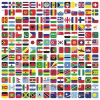 Rounded square country flags set vector